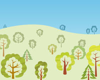 Vector trees in the forest. Some  trees on the hill, forest view Stock Image