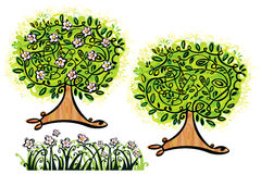Vector trees and grass. royalty free illustration