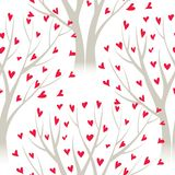 Vector trees with heart leaves, seamless pattern Royalty Free Stock Photography