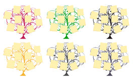 Vector trees with memos. Set of  trees with memos Stock Photos