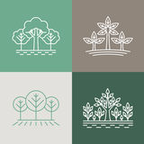 Vector trees and parks logo design elements in linear style - ab. Stract landscapes and nature concepts Royalty Free Stock Images