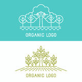 Vector trees and parks logo design elements. In linear style - abstract landscapes and nature concepts Royalty Free Stock Photo