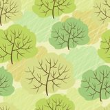 Vector trees seamless pattern (Abstract green. Background Royalty Free Stock Image