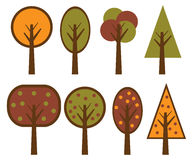 Vector trees set. Illustration of a set of  trees isolated on white background.EPS file available Stock Photos
