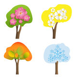 Vector trees with volumetric flowers, leaves and snowflakes. Seasons of the year signs Stock Image