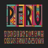 Vector trendy alphabet made of cutout geometric colored shapes on a black background. Peru palette.  vector illustration