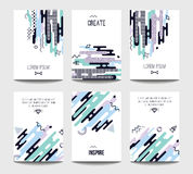 Vector trendy brochure templates with chaotic flat geometry in memphis style Royalty Free Stock Photo