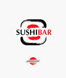 Vector trendy brush sushi logo. Creative sushi bar logotype Royalty Free Stock Photo