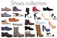 Vector trendy collection of men`s and women`s shoes fashion footwear. Stock Images