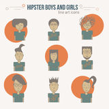 Vector trendy colorful line art men and women icons in hipster style. EPS10 Stock Photos