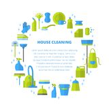 Cleaning concept. Vector trendy flat cleaning icon set, template concept. Vacuum cleaner protective gloves plunger spray bottle  wipe squeegee sponge bucket mop Stock Photography