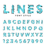 Vector trendy flat font with abstract lines. Stock Photography