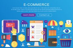 Vector trendy flat gradient color E-commerce, online shopping and retail, electronic shops concept template banner with. Icons and text royalty free illustration