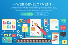 Vector trendy flat gradient color web development concept template banner with icons and text. stock illustration