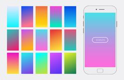 Vector trendy gradient background set. For design screen mobile app, ui elements, app development, online registration, user profile, access to account. Soft vector illustration