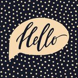 Vector trendy illustration with Hello lettering. Vector trendy illustration with `Hello` lettering and speech bubble on hand drawn dots texture background vector illustration
