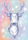 Vector trendy illustration with sketch style deer and doodle signs around. Concept art. Tattoo, astrology, alchemy, magic, travel. stock illustration