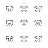 Vector trendy line style set of funny cartoon bear Stock Image