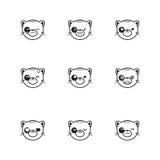 Vector trendy line style set of funny cartoon cat Stock Image