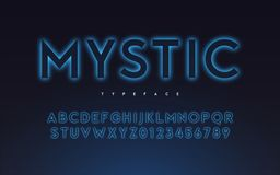 Vector trendy neon light or eclipse style glowing font design, a stock images