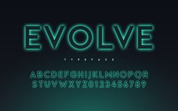 Vector trendy neon light or eclipse style glowing font design, a royalty free stock photography