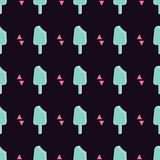 Vector trendy seamless pattern with bitten ice cream and triangles. Modern summer fashion print background stock illustration