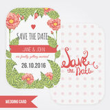 Vector Trendy set of Wedding invitations with roses and leaves. Save the date lettering. Perfect for save the date,  mothers day, Stock Images