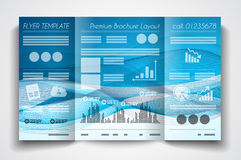 Vector tri fold brochure template design or flyer layout Royalty Free Stock Photo