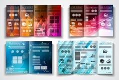 Vector tri fold brochure template design or flyer layout stock illustration