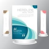 Vector tri fold business set brochure blue template flyers business Stock Photo