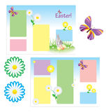 Vector tri-folder template for spring easter with butterfly and Royalty Free Stock Images