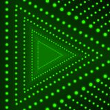 Vector Triangle Background, Glowing Circles, Green Lights on Dark Background, Neon Arrow. vector illustration