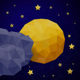 Vector triangle background with moon Royalty Free Stock Photography