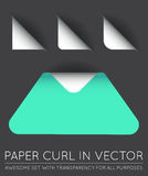 Vector Triangle with Paper Curl with Shadow Isolated Set. EPS Royalty Free Stock Photos