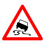 Vector triangle traffic sign for slippery road Stock Photo