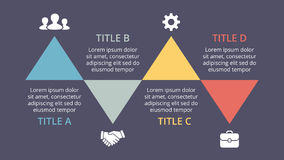 Vector triangles timeline infographic, cycle diagram, graph, presentation chart. Business concept with 4 options, parts. Circle arrows diagram for graph Royalty Free Stock Images