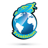 Vector triathlon symbol. Vector blue triathlon sport symbol Royalty Free Stock Photos