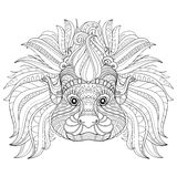 Vector Tribal Decorative Head of Cotton-top Tamarin Royalty Free Stock Image