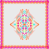 Vector tribal decorative pattern in frame. Aztec ornamental style. Electro boho color trend Stock Images