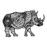 Vector Tribal Decorative Rhinoceros. Patterned Design Stock Images