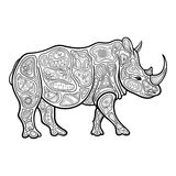 Vector Tribal Decorative Rhinoceros Royalty Free Stock Photography