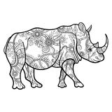 Vector Tribal Decorative Rhinoceros. Patterned Design Royalty Free Stock Image