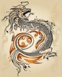 Vector tribal del tatuaje del bosquejo del dragón stock de ilustración