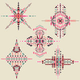 Vector Tribal ethnic ornament. Aztec decor elements. Tribal elements design isolated on pastel background. Flat decor elements. Pe Stock Photos