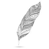 Vector tribal feather. Series of doodle feather. Royalty Free Stock Images