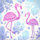 Vector tribal Flamingo bird with ethnic ornaments Royalty Free Stock Images