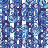 Vector tribal floral print. Ethnic background with roses. Stock Photo
