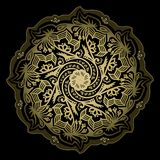 Vector tribal golden color mandala on a black background. stock illustration