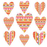 Vector tribal  hearts set,  aztec vintage folklore background pa Stock Photo