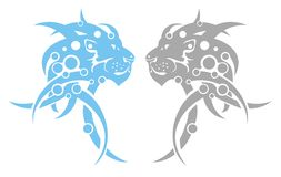 Tribal lion head. Vector tribal lion head symbols. Blue and gray variants isolated on the white Stock Photos